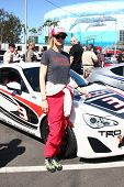 LOS ANGELES - APR 9:  Jenna Elfman at the Toyota ProCeleb Race Press Day 2013 at the Toyoto Grand Pr
