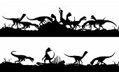 image of dilophosaurus  - Two consecutive editable vector silhouettes of Dilophosaurus dinosaurs feeding on prey with dinosaurs as separate objects - JPG