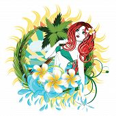 picture of beauty pageant  - Beautiful island girl in green bikini with red hair and plumeria flower - JPG