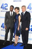 LOS ANGELES - APR 9: Chadwick Boseman, Calista Flockhart, Harrison Ford at the Los Angeles Premiere