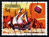 Postage Stamp Colombia 1966 Spanish Galleon, 16Th Century
