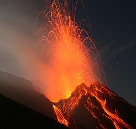 pic of magma  - Volcano Stromboli  Eolian islands - JPG