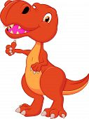 Cute dinosaur cartoon giving thumb up