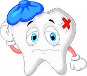 picture of bad teeth  - Vector illustration of Sick tooth cartoon isolated on white background - JPG