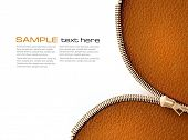 picture of zipper  - Brown leather texture background with zipper - JPG