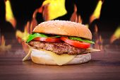 foto of cheese-steak  - Hamburger with grilled beef - JPG