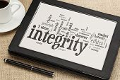 pic of integrity  - cloud of words or tags related to integrity and ethical values on a  digital tablet - JPG