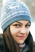 Teenage Girl In Winter Cap