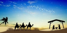 image of magi  - Magi Kings following the star of Bethlehem - JPG