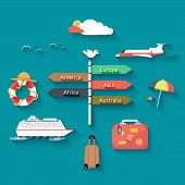 image of passenger ship  - Icons set of traveling planning a summer vacation tourism and journey objects and passenger luggage in flat design - JPG