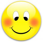 foto of ruddy-faced  - A happy shy yellow smile button ruddy - JPG