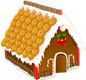 foto of gingerbread house  - Vector illustration of a gingerbread house - JPG
