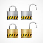 foto of combination lock  - Vector locked and unlocked padlock set isolated - JPG