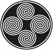 stock photo of celtic  - Four black and white celtic double spirals are forming a well known ancient celtic symbol - JPG