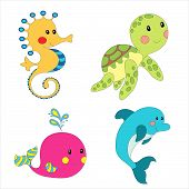 pic of creatures  - Set of cartoon sea creatures isolated on white - JPG