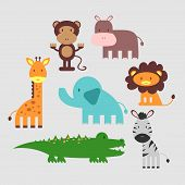 stock photo of alligator baby  - Set of cute funny vector african animals - JPG