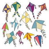 image of kites  - Vector illustration of various colorful hand drawn kite design elements - JPG