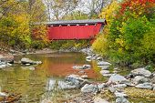 picture of furnace  - The Everett Covered Bridge crosses Furnace Run in Ohio - JPG