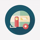 picture of travel trailer  - Travel Trailer Flat Icon With Long Shadow - JPG