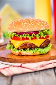 pic of hamburger-steak  - Tasty and appetizing hamburger cheeseburger - JPG