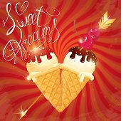 pic of sweet dreams  - Vanilla Ice cream cones with Chocolate and strawberry glaze in heart shape with arrow and cherry on retro striped red background - JPG