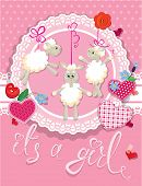 stock photo of baby sheep  - Pink baby shower card with sheep and hearts  - JPG