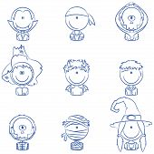 picture of halloween characters  - Cute collection of Halloween boy and girl character avatars - JPG