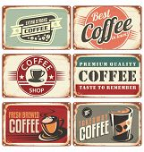 stock photo of latte  - Set of vintage coffee tin signs - JPG