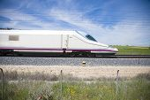 picture of high-speed train  - side of locomotive high speed train in a landscape from Spain  - JPG