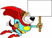 stock photo of dog clothes  - Cartoon illustration of a superhero dog with a sign - JPG