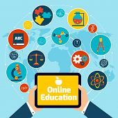 foto of cybernetics  - Online education concept with science icons human hand holding mobile tablet vector illustration - JPG