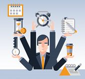 pic of multitasking  - Time management concept with multitasking businessman with many hands and successful planning elements vector illustration - JPG