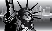 picture of liberte  - New York and Statue of Liberty in Night vector - JPG