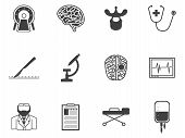 pic of cerebrum  - Set of black silhouette vector icons with elements for neurosurgery on white background - JPG