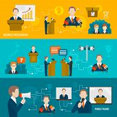 picture of minister  - Public speaking banner set of business presentation public figure isolated vector illustration - JPG