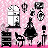 stock photo of caged  - Princess Room with glamour accessories furniture cages pictures - JPG