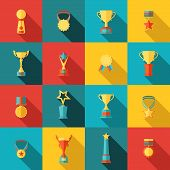 stock photo of trophy  - Trophy icons flat set of medallion success award winner medal isolated vector illustration - JPG
