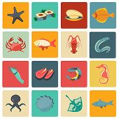 stock photo of stingray  - Seafood icons flat set with seahorse eel stingray sushi isolated vector illustration - JPG