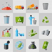 foto of dumpster  - Garbage recycling icons flat set of dumpster basket waste isolated vector illustration - JPG