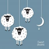 picture of counting sheep  - Cute sheep and moon in paper cut out style - JPG
