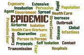 stock photo of epidemic  - Epidemic word cloud on white background - JPG