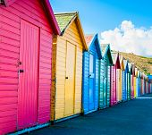 stock photo of beach hut  - View of colorful beach huts summer vacation concept - JPG