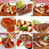stock photo of grilled sausage  - Grill menu collage including grilled assorted sausages lula - JPG