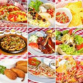 picture of nachos  - Mexican food collage including taco salad nachos deep - JPG