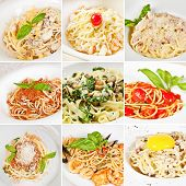 stock photo of spaghetti  - Various pasta collage including spaghetti Carbonara spaghetti Bolognese and linguine pasta - JPG