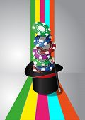 stock photo of top-hat  - illustration of top hat of the magic with chips casino - JPG