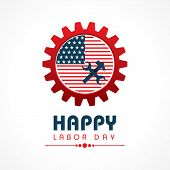 image of labor  - Creative happy labor day greeting stock vector - JPG