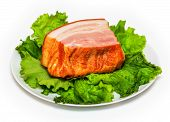 pic of brisket  - Plate with pork brisket and salad isolated on white background - JPG