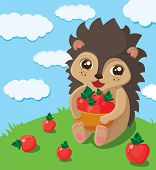 stock photo of red snapper  - the illustration of a little cute hedgehog that takes big pad with red apples - JPG