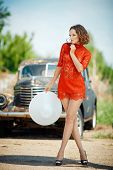 picture of girl walking away  - Beautiful young woman looks sexy - JPG